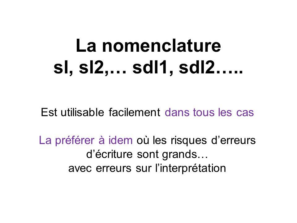 La nomenclature sl, sl2,… sdl1, sdl2….. Est utilisable facilement dans tous les cas La préférer à idem où les risques derreurs décriture sont grands…
