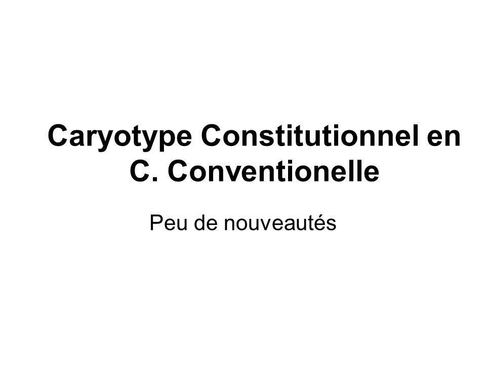 Caryotype Constitutionnel en C. Conventionelle Peu de nouveautés