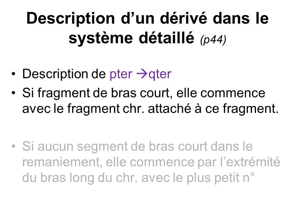 Description dun dérivé dans le système détaillé (p44) Description de pter qter Si fragment de bras court, elle commence avec le fragment chr. attaché