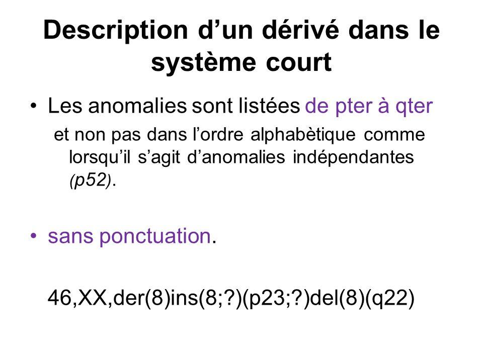 Description dun dérivé dans le système court Les anomalies sont listées de pter à qter et non pas dans lordre alphabètique comme lorsquil sagit danoma