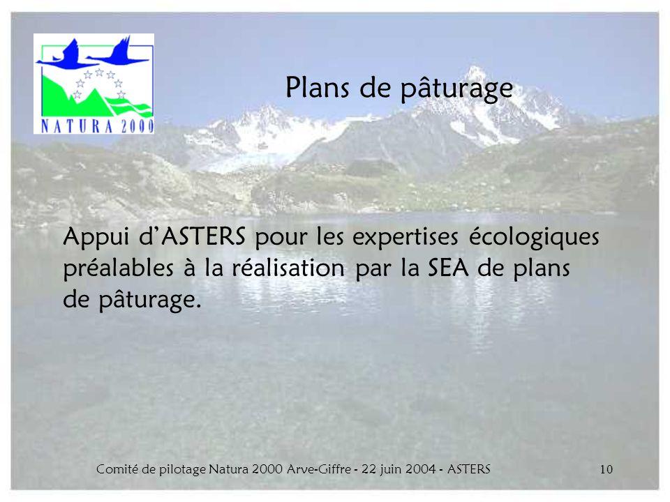 Comité de pilotage Natura 2000 Arve-Giffre - 22 juin 2004 - ASTERS10 Plans de pâturage Appui dASTERS pour les expertises écologiques préalables à la r