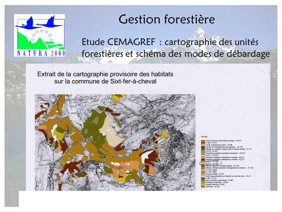 Comité de pilotage Natura 2000 Arve-Giffre - 22 juin 2004 - ASTERS11 Gestion forestière Etude CEMAGREF : cartographie des unités forestières et schéma