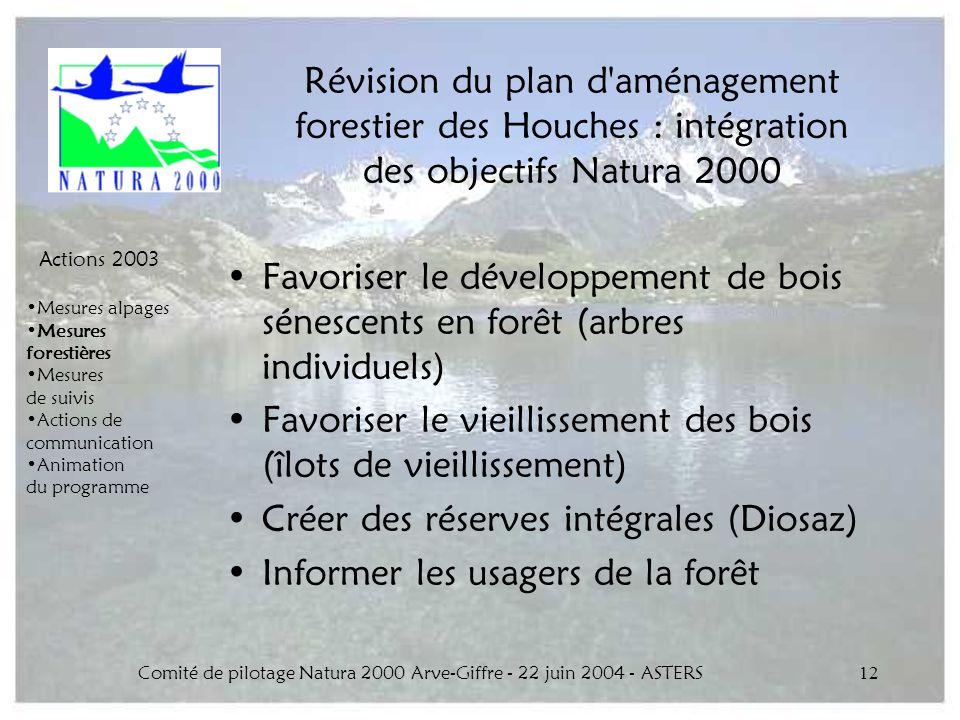 Comité de pilotage Natura 2000 Arve-Giffre - 22 juin 2004 - ASTERS12 Révision du plan d'aménagement forestier des Houches : intégration des objectifs