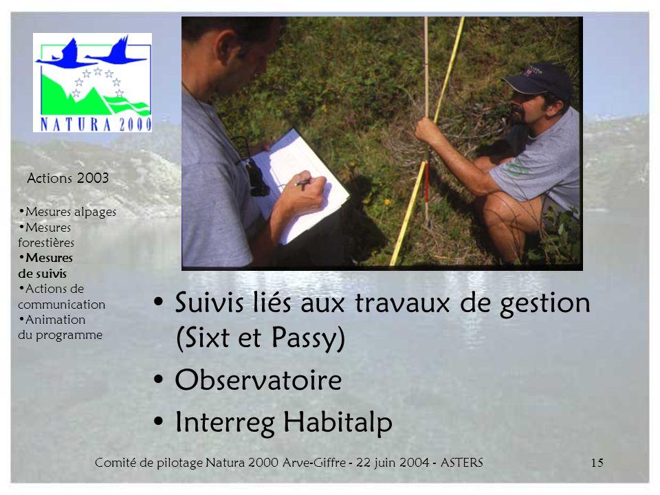 Comité de pilotage Natura 2000 Arve-Giffre - 22 juin 2004 - ASTERS15 Suivis liés aux travaux de gestion (Sixt et Passy) Observatoire Interreg Habitalp