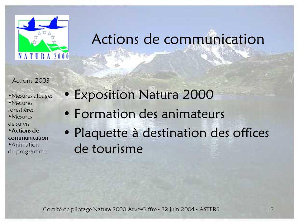Comité de pilotage Natura 2000 Arve-Giffre - 22 juin 2004 - ASTERS17 Actions de communication Actions 2003 Mesures alpages Mesures forestières Mesures