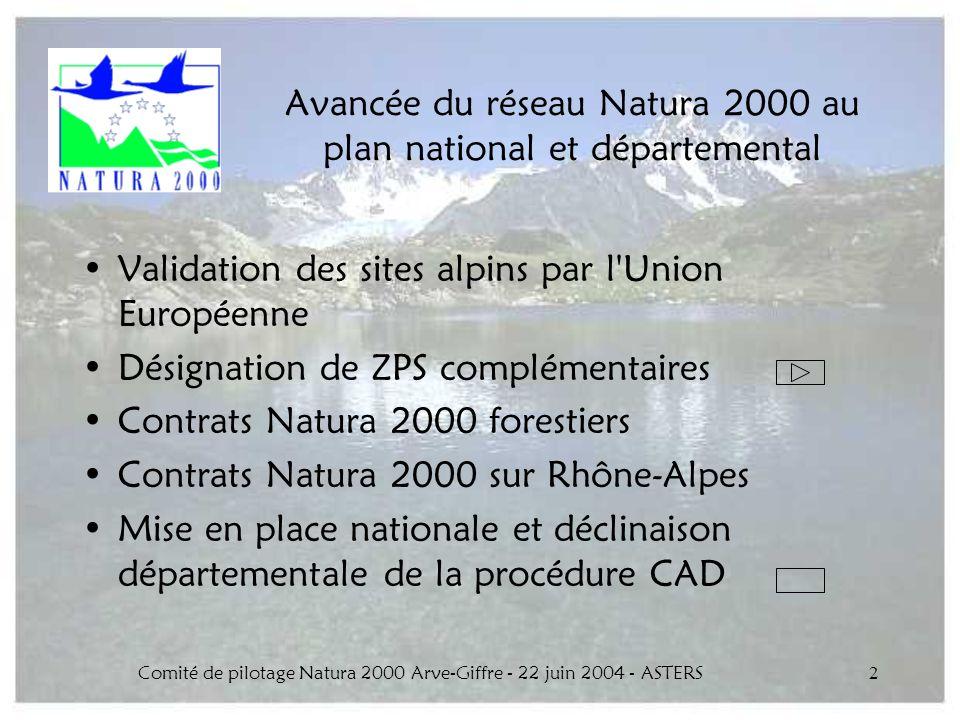 Comité de pilotage Natura 2000 Arve-Giffre - 22 juin 2004 - ASTERS2 Avancée du réseau Natura 2000 au plan national et départemental Validation des sit