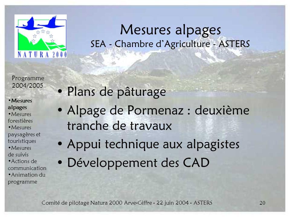 Comité de pilotage Natura 2000 Arve-Giffre - 22 juin 2004 - ASTERS20 Mesures alpages SEA - Chambre dAgriculture - ASTERS Plans de pâturage Alpage de P