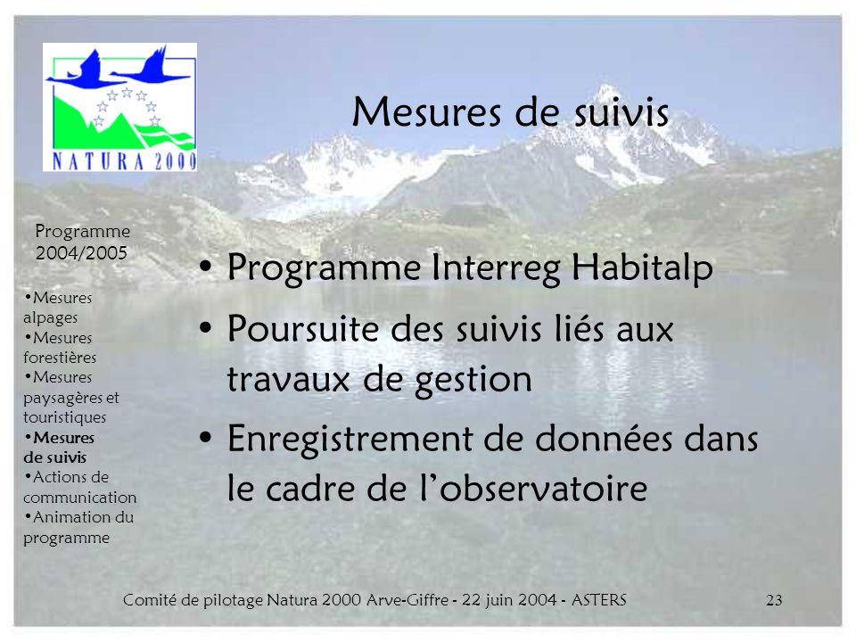 Comité de pilotage Natura 2000 Arve-Giffre - 22 juin 2004 - ASTERS23 Mesures de suivis Programme Interreg Habitalp Poursuite des suivis liés aux trava
