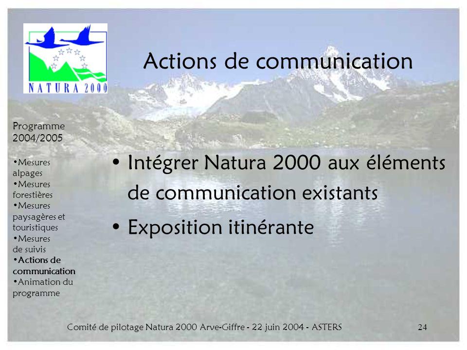 Comité de pilotage Natura 2000 Arve-Giffre - 22 juin 2004 - ASTERS24 Actions de communication Intégrer Natura 2000 aux éléments de communication exist