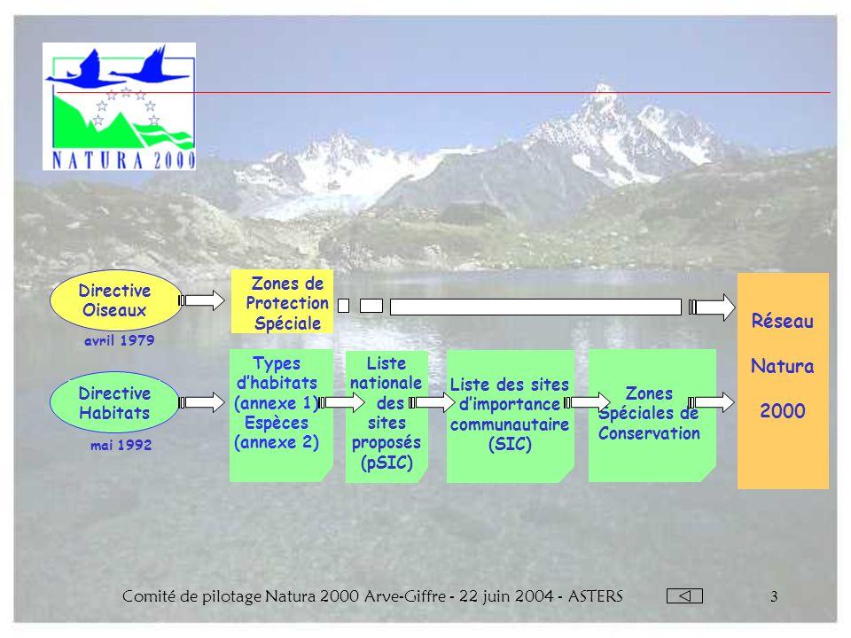 Comité de pilotage Natura 2000 Arve-Giffre - 22 juin 2004 - ASTERS3 Zones Spéciales de Conservation Directive Oiseaux Directive Habitats avril 1979 ma