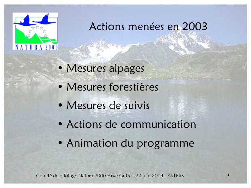 Comité de pilotage Natura 2000 Arve-Giffre - 22 juin 2004 - ASTERS5 Actions menées en 2003 Mesures alpages Mesures forestières Mesures de suivis Actio