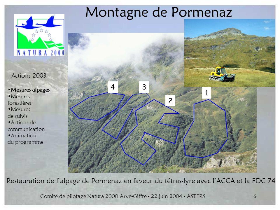 Comité de pilotage Natura 2000 Arve-Giffre - 22 juin 2004 - ASTERS6 Montagne de Pormenaz Restauration de lalpage de Pormenaz en faveur du tétras-lyre