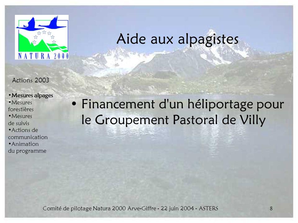 Comité de pilotage Natura 2000 Arve-Giffre - 22 juin 2004 - ASTERS8 Aide aux alpagistes Financement d'un héliportage pour le Groupement Pastoral de Vi