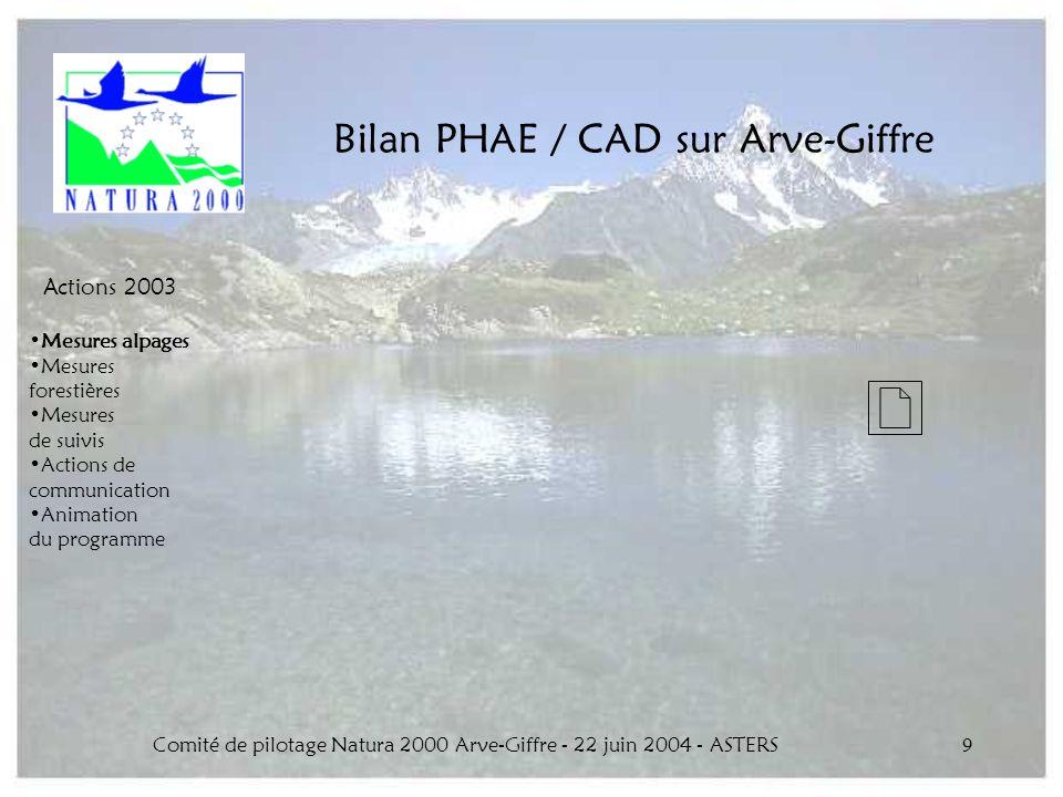 Comité de pilotage Natura 2000 Arve-Giffre - 22 juin 2004 - ASTERS9 Bilan PHAE / CAD sur Arve-Giffre Actions 2003 Mesures alpages Mesures forestières