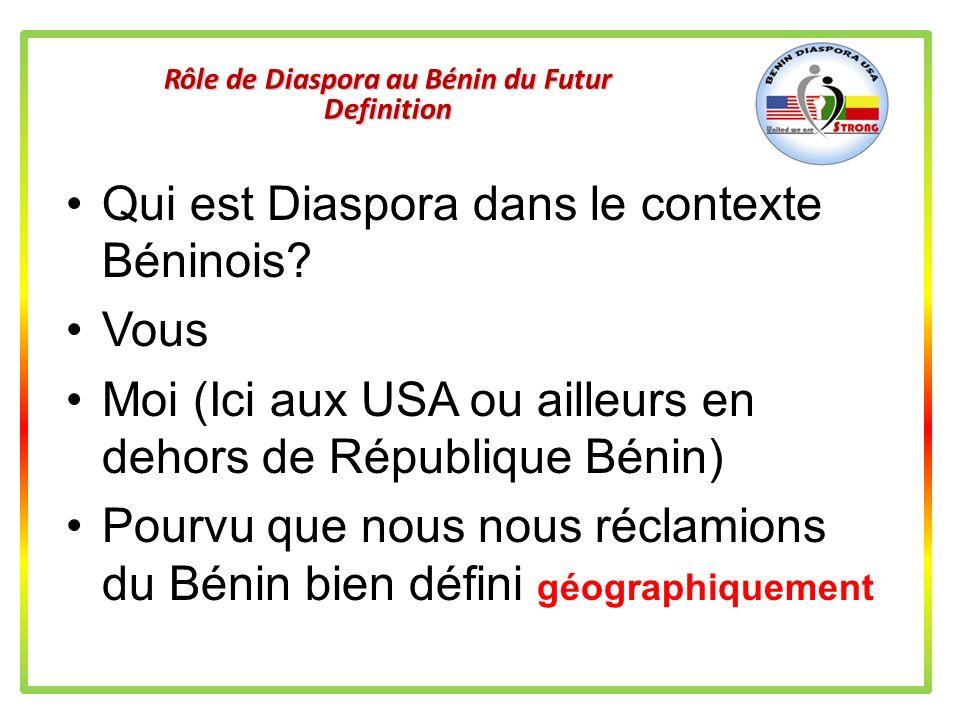 Rôle de Diaspora au Bénin du Futur Definition Originellement, le mot diaspora est attribué à tous les juifs dispers é s dans le monde depuis la destru