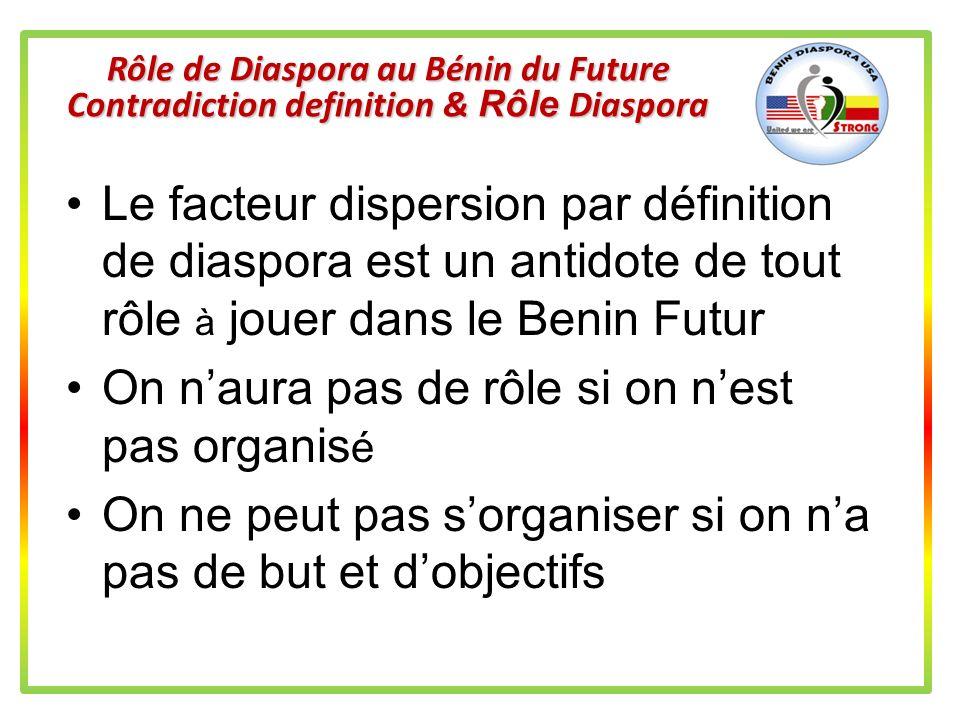 Rôle de Diaspora au Bénin du Futur Definition Qui est Diaspora dans le contexte Béninois? Vous Moi (Ici aux USA ou ailleurs en dehors de République Bé
