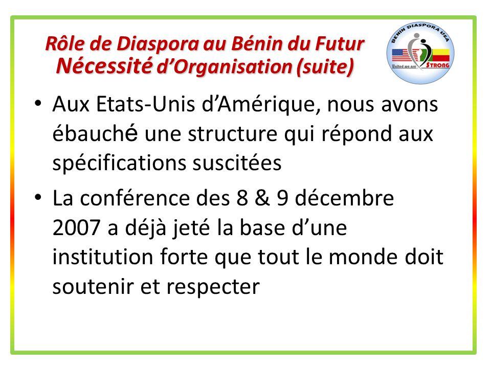 Rôle de Diaspora au Bénin du Futur Nécessité dOrganisation On sorganise à travers un but et des objectifs précis et déterminés de commun accord On sor