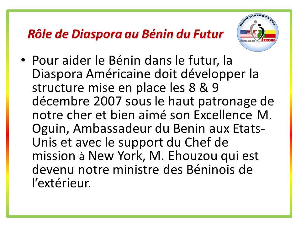 Rôle de Diaspora au Bénin du Futur Pour aider le Benin dans le futur, la Diaspora Américaine doit sorganiser pour saider dabord (Voir objectifs 1, 2,