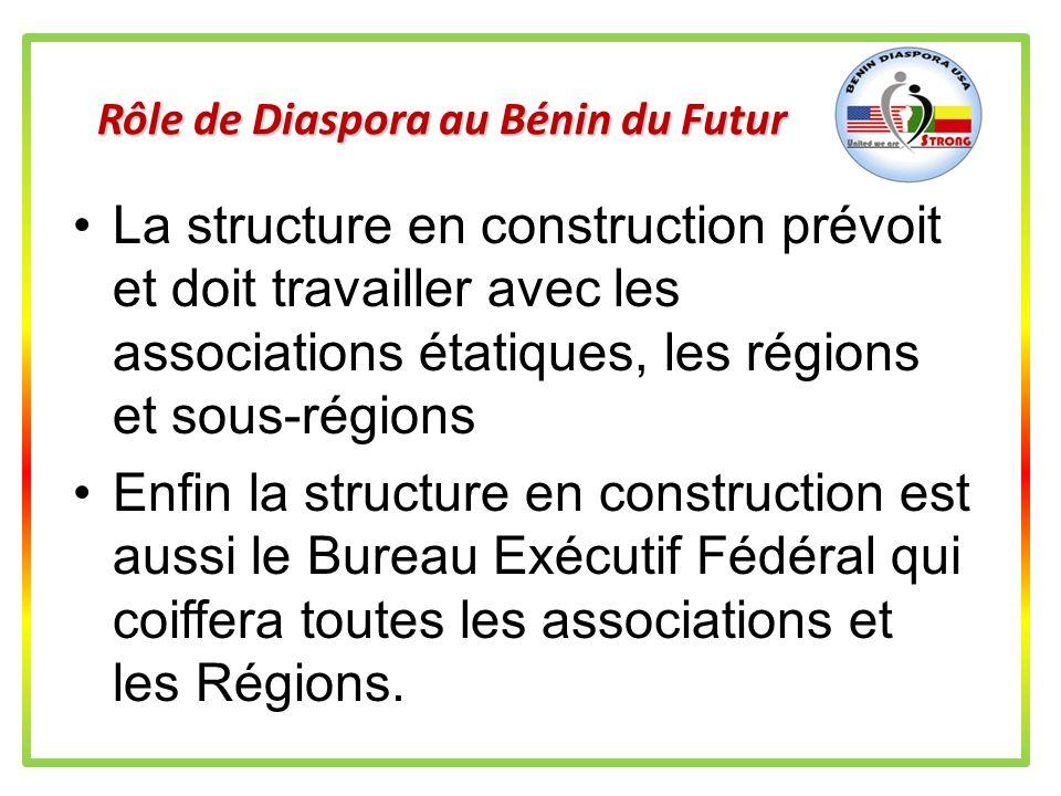 Rôle de Diaspora au Bénin du Futur Pour aider le Bénin dans le futur, la Diaspora Américaine doit développer la structure mise en place les 8 & 9 déce