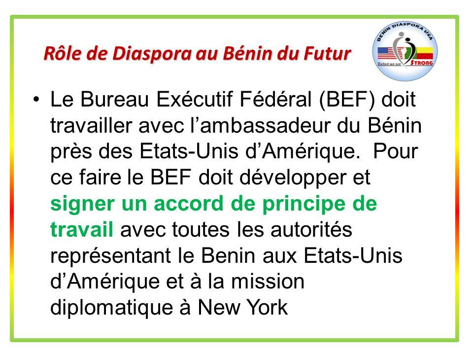 Rôle de Diaspora au Bénin du Futur La structure en construction prévoit et doit travailler avec les associations étatiques, les régions et sous-région