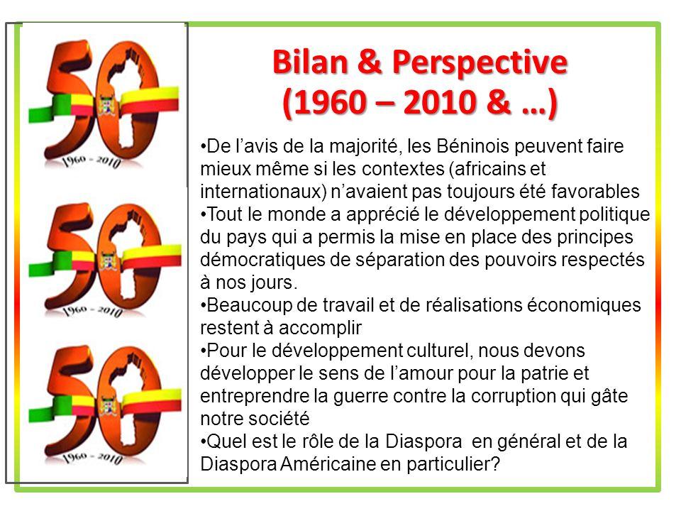 Rôle de Diaspora au Bénin du Futur Le Bureau Exécutif Fédéral (BEF) doit travailler avec lambassadeur du Bénin près des Etats-Unis dAmérique.