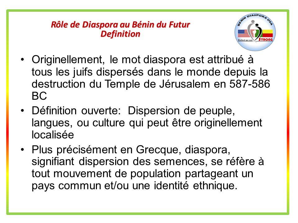 Rôle de Diaspora au Bénin du Futur Cest dans ces conditions dorganisation et de principe de travail que la Diaspora Américaine sera forte pour intervenir localement et aider le Bénin dans son développement économique Voir http://benindiasporausa.orghttp://benindiasporausa.org