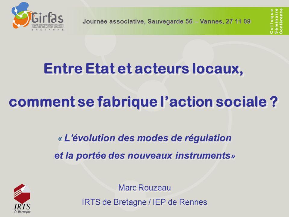 Entre Etat et acteurs locaux, comment se fabrique laction sociale ? « L'évolution des modes de régulation et la portée des nouveaux instruments » Marc