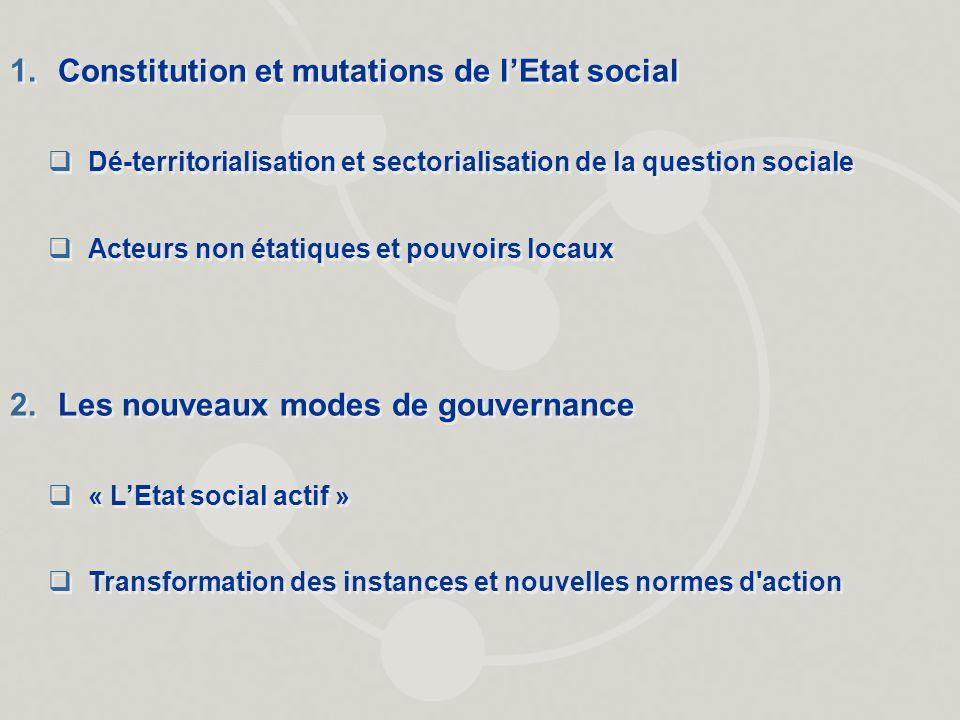 1.Constitution et mutations de lEtat social Dé-territorialisation et sectorialisation de la question sociale Acteurs non étatiques et pouvoirs locaux