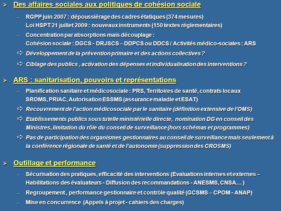Des affaires sociales aux politiques de cohésion sociale Des affaires sociales aux politiques de cohésion sociale – RGPP juin 2007 : dépoussiérage des