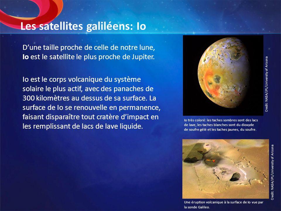 Les satellites galiléens: Io Dune taille proche de celle de notre lune, Io est le satellite le plus proche de Jupiter. Io est le corps volcanique du s