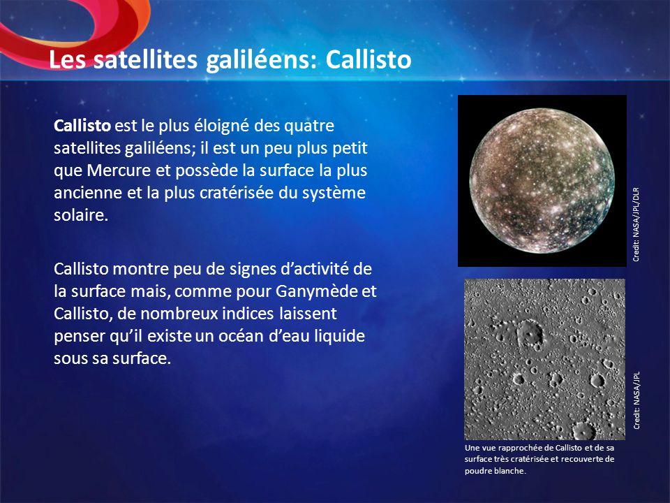Les satellites galiléens: Callisto Callisto est le plus éloigné des quatre satellites galiléens; il est un peu plus petit que Mercure et possède la su