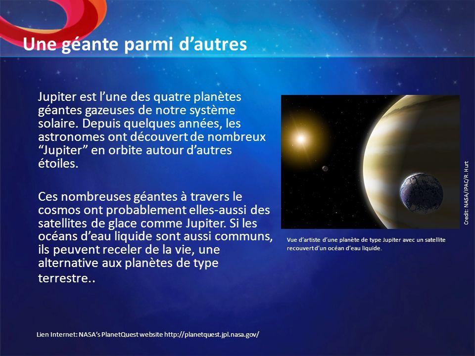 Une géante parmi dautres Jupiter est lune des quatre planètes géantes gazeuses de notre système solaire. Depuis quelques années, les astronomes ont dé