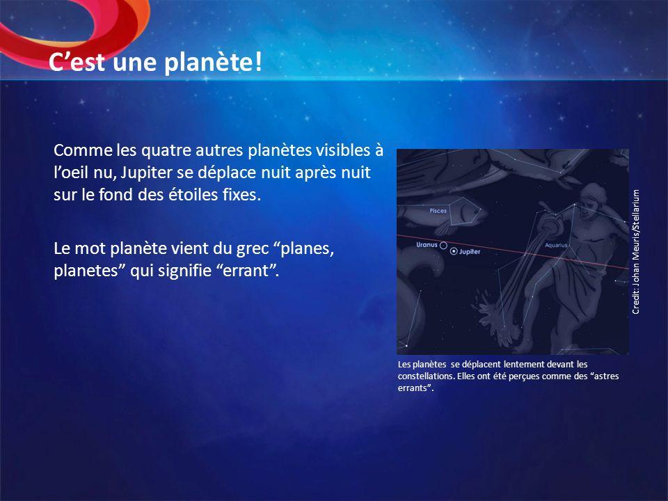 Cest une planète! Comme les quatre autres planètes visibles à loeil nu, Jupiter se déplace nuit après nuit sur le fond des étoiles fixes. Le mot planè