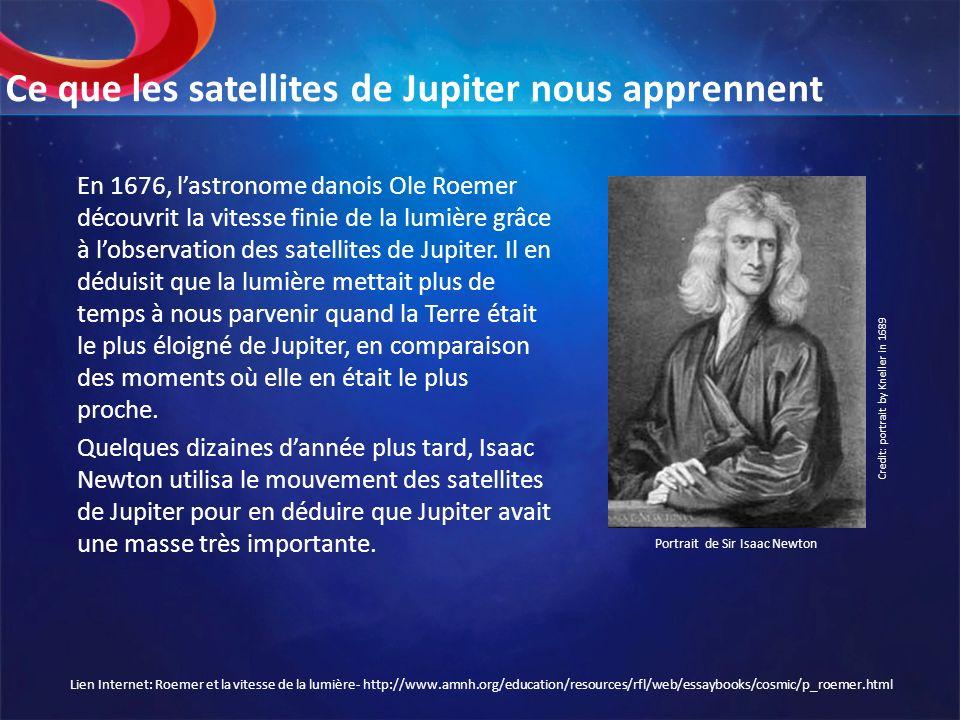 Ce que les satellites de Jupiter nous apprennent En 1676, lastronome danois Ole Roemer découvrit la vitesse finie de la lumière grâce à lobservation d