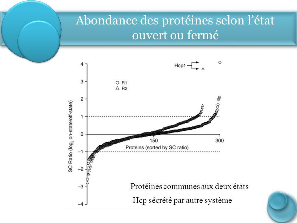 Abondance des protéines selon l'état ouvert ou fermé Protéines communes aux deux états Hcp sécrété par autre système