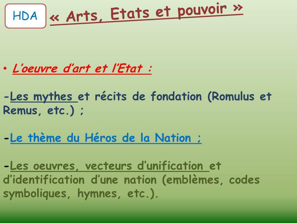 L'oeuvre d'art et l'Etat : -Les mythes et récits de fondation (Romulus et Remus, etc.) ; -Le thème du Héros de la Nation ; -Les oeuvres, vecteurs d'un