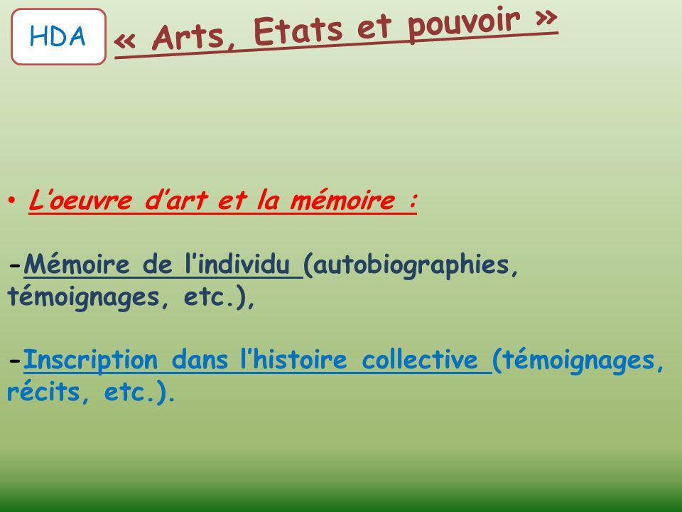 L'oeuvre d'art et la mémoire : -Mémoire de l'individu (autobiographies, témoignages, etc.), -Inscription dans l'histoire collective (témoignages, réci