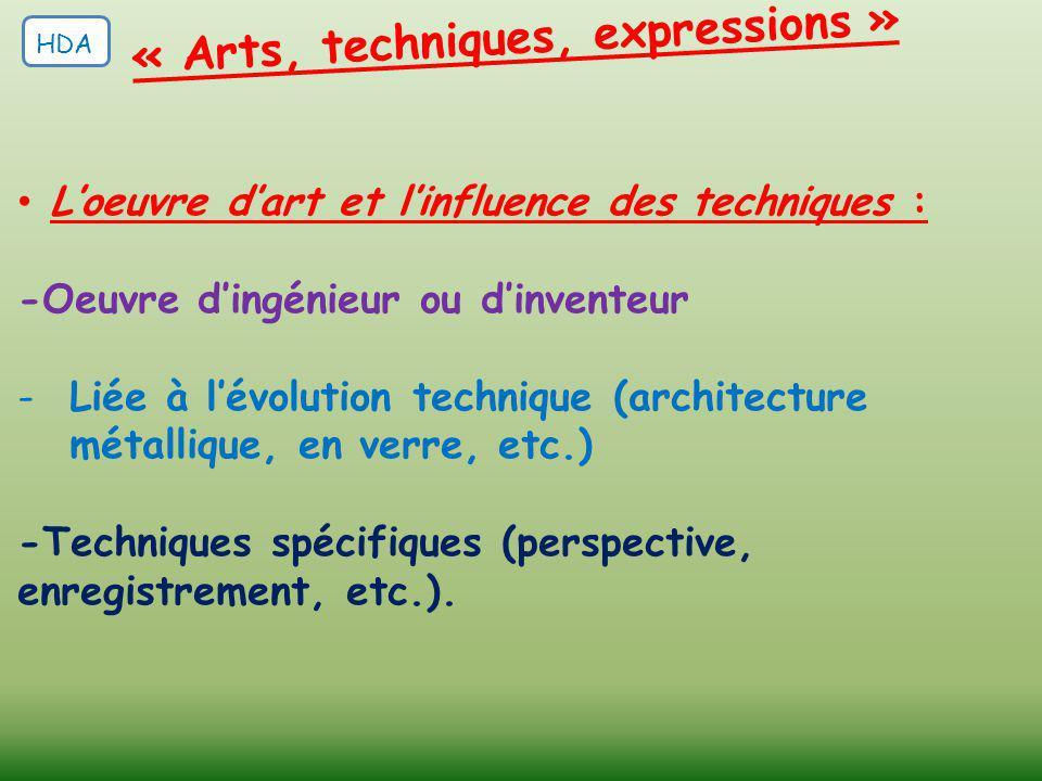 L'oeuvre d'art et l'influence des techniques : -Oeuvre d'ingénieur ou d'inventeur -Liée à l'évolution technique (architecture métallique, en verre, et
