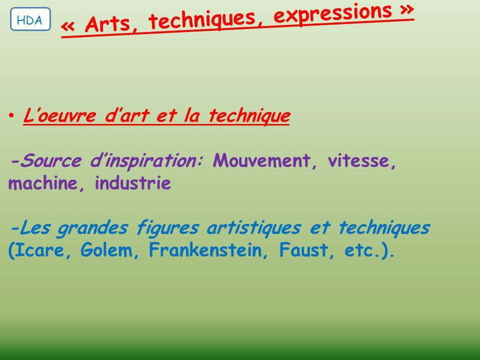 L'oeuvre d'art et la technique -Source d'inspiration: Mouvement, vitesse, machine, industrie -Les grandes figures artistiques et techniques (Icare, Go