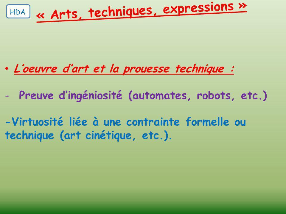 L'oeuvre d'art et la prouesse technique : -Preuve d'ingéniosité (automates, robots, etc.) -Virtuosité liée à une contrainte formelle ou technique (art