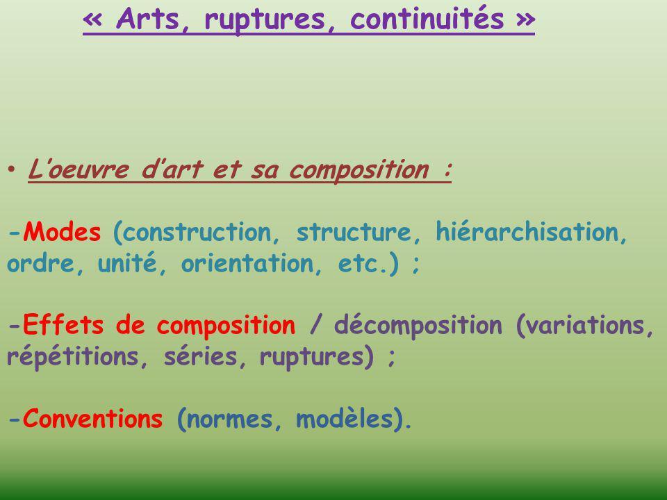 « Arts, ruptures, continuités » L'oeuvre d'art et sa composition : -Modes (construction, structure, hiérarchisation, ordre, unité, orientation, etc.)