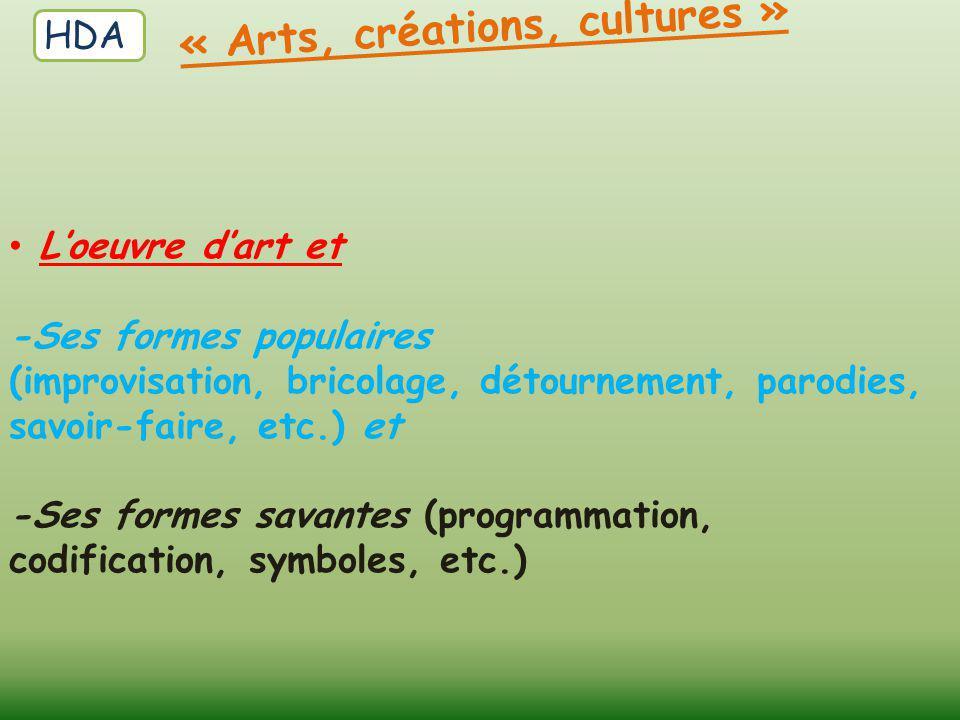 L'oeuvre d'art et -Ses formes populaires (improvisation, bricolage, détournement, parodies, savoir-faire, etc.) et -Ses formes savantes (programmation
