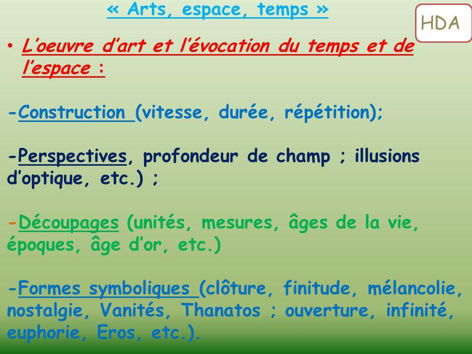 L'oeuvre d'art et l'évocation du temps et de l'espace : -Construction (vitesse, durée, répétition); -Perspectives, profondeur de champ ; illusions d'o
