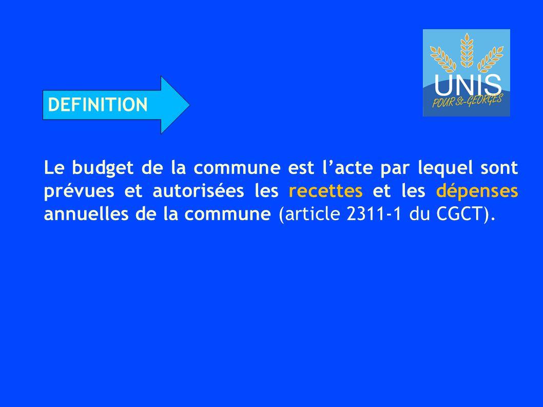 Le budget de la commune est l'acte par lequel sont prévues et autorisées les recettes et les dépenses annuelles de la commune (article 2311-1 du CGCT).