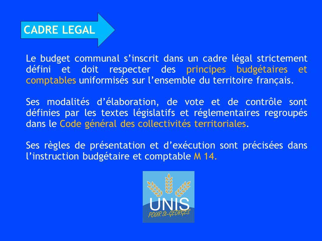 Le budget communal s'inscrit dans un cadre légal strictement défini et doit respecter des principes budgétaires et comptables uniformisés sur l'ensemble du territoire français.