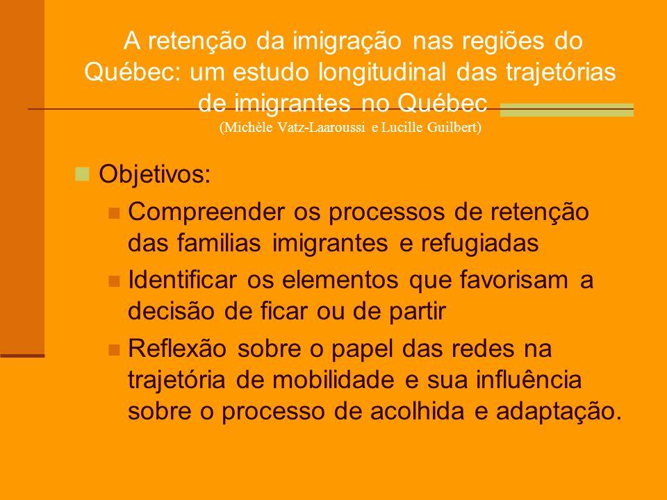 A retenção da imigração nas regiões do Québec: um estudo longitudinal das trajetórias de imigrantes no Québec (Michèle Vatz-Laaroussi e Lucille Guilbe