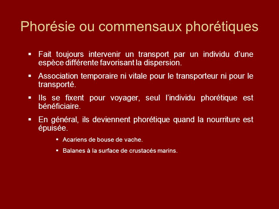 Phorésie ou commensaux phorétiques  Fait toujours intervenir un transport par un individu d'une espèce différente favorisant la dispersion.  Associa