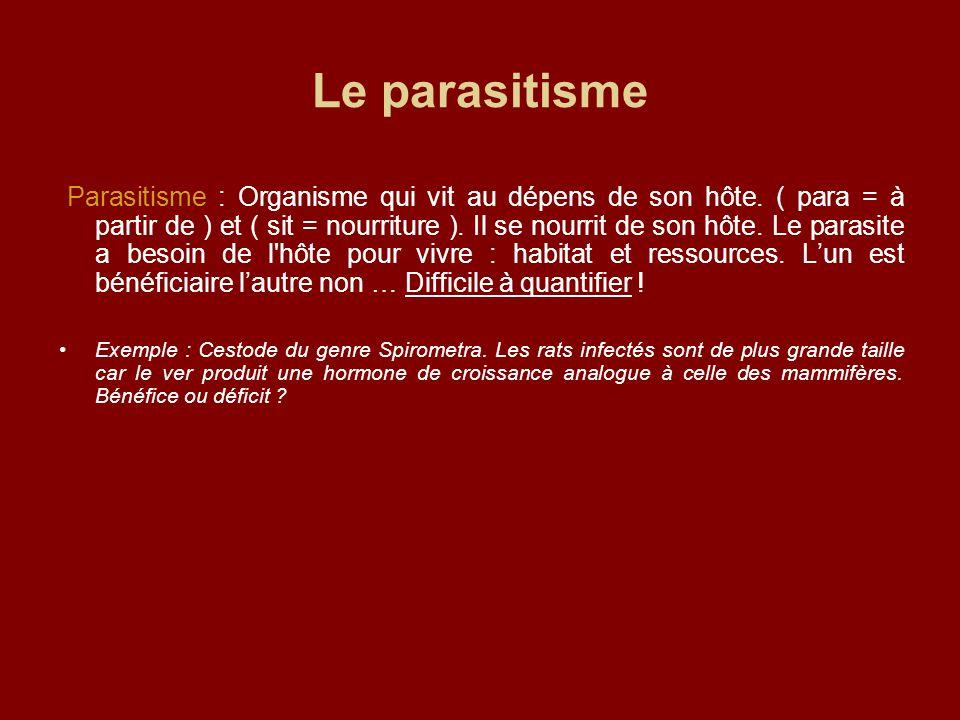 Le parasitisme Parasitisme : Organisme qui vit au dépens de son hôte. ( para = à partir de ) et ( sit = nourriture ). Il se nourrit de son hôte. Le pa