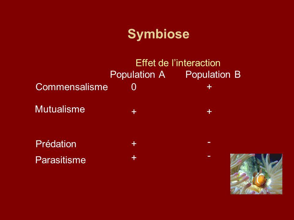 Symbiose Effet de l'interaction Population A Population B Commensalisme 0 + Mutualisme + + Prédation + - Parasitisme + -
