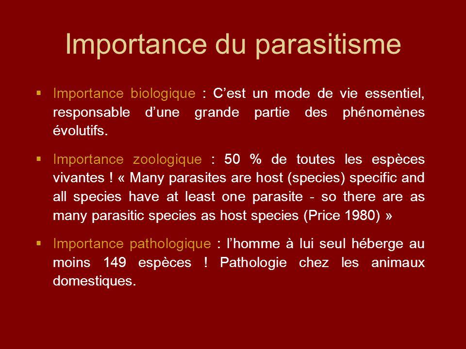Importance du parasitisme  Importance biologique : C'est un mode de vie essentiel, responsable d'une grande partie des phénomènes évolutifs.